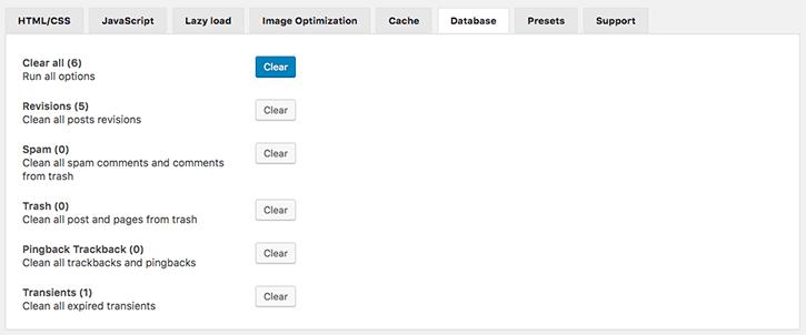 Database tab WOT Cache Pro