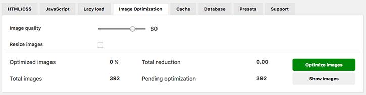 Image optimisation settings tab WOT Cache Pro