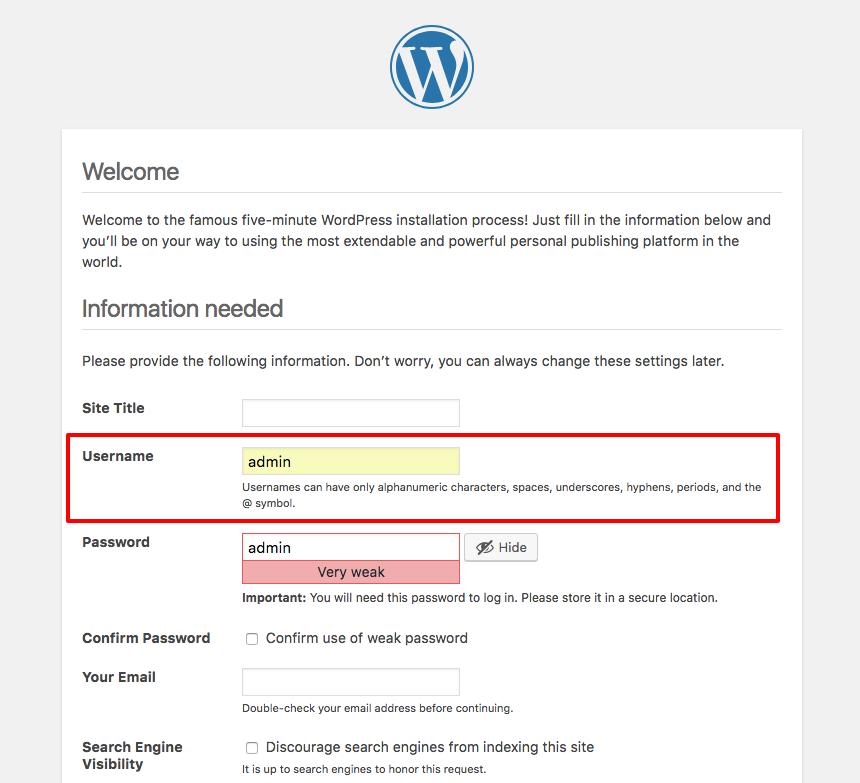 WordPress installation admin username