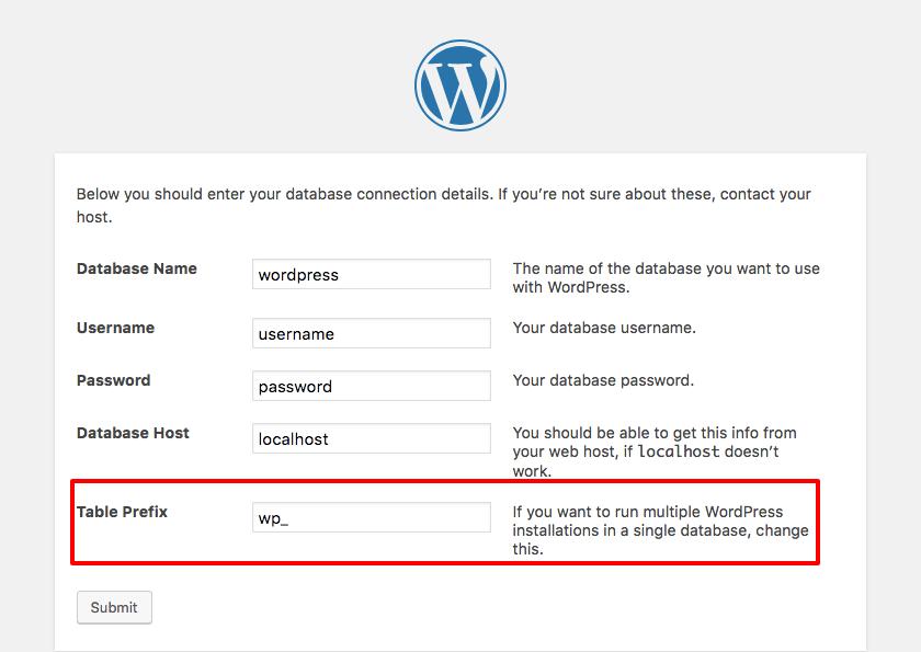 WordPress installation table prefix