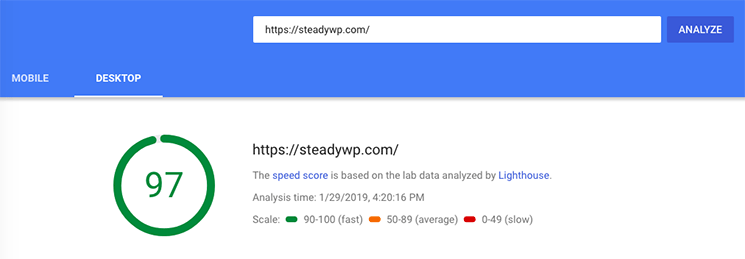 Google Page Speed Insights test results