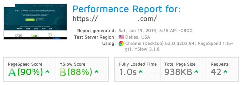 SteadyWP page speed optimisation service result after