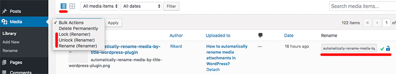 WordPress media library added option rename media files