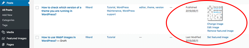 WordPress post list view add edit featured image